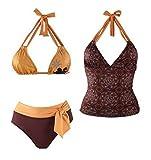 Damen Neckholder Bikini + Tankini Oberteil 3tlg. gelb/braun Schwimmanzug Badeanzug