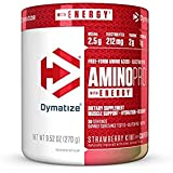 Dymatize AMINO PRO Plus Energy 9.52 OZ Gluten Free, Pre and Post Workout Nutrition Energy Supplement, Strawberry Kiwi (with Caffeine), 270 gm