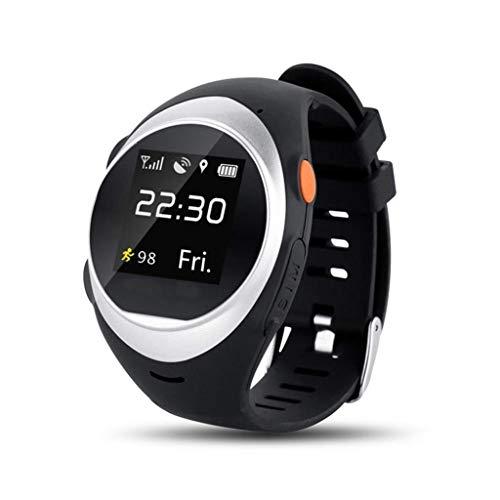DQSW Smartwatch- GPS Smart Watch Senioren Smart Sichere Positionierung Uhren Rufen SOS Schrittzähler Wasserdicht ältere Menschen (Farbe : Silber) (Uhr Sicher)