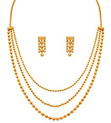Jfl - Jewellery For Less One Gram Gold Plated Multi Strands Round Gold Bead Necklace With Earrings Set For Women & Girls