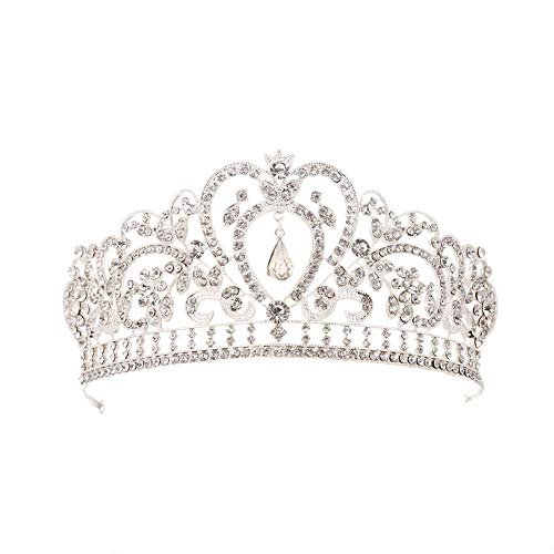 1PC Crystal Queen Crown Wedding Tiara nuziale diadema con cristalli Strass per la cerimonia nuziale Strass cristallo nuziale corona archetto Tiara cerchietto per festa di nozze (Silver)