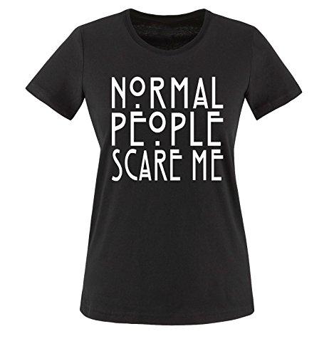 Comedy Shirts - Normal People Scare Me - Donna T-Shirt maglietta - taglia XS-XXL vari colori nero / bianco