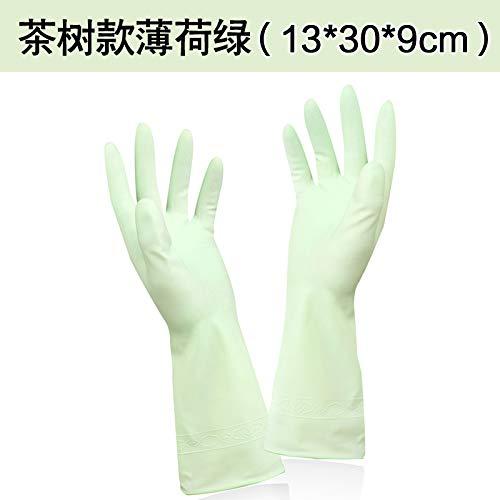 Dauerhafte verdickende Hautpflege der Küche, die Hausarbeithandschuh-Teebaumöl-Abwaschhandschuhwäsche-Kleidung-wasserdichte Handschuhe, M,Teebaumminzengrün säubert