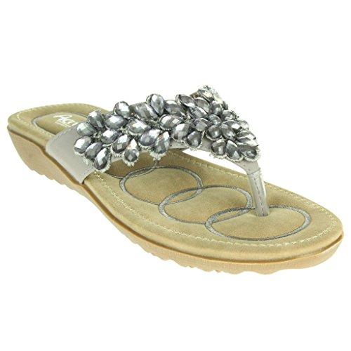 Frau Damen Diamante Wulstig Weiche Sohle Slip On Sommer Strand Open Toe Beil盲ufige Party Komfort Flache Sandale Schuhe Gr枚脽e Grau
