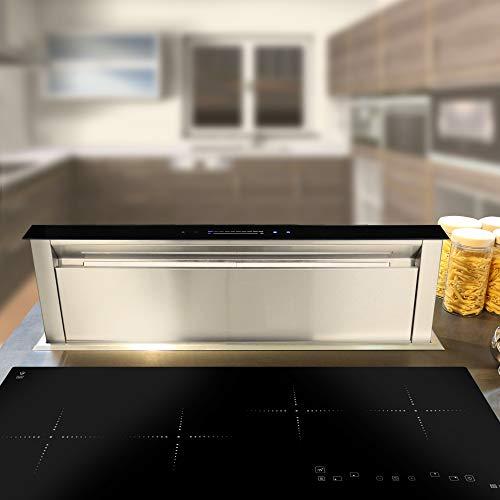 Dunstabzugshaube Tischhaube 90cm / ausfahrbar/LED-Beleuchtung / 1000cbm/h/schwarzes Design/leises Laufgeräusch/KKT KOLBE
