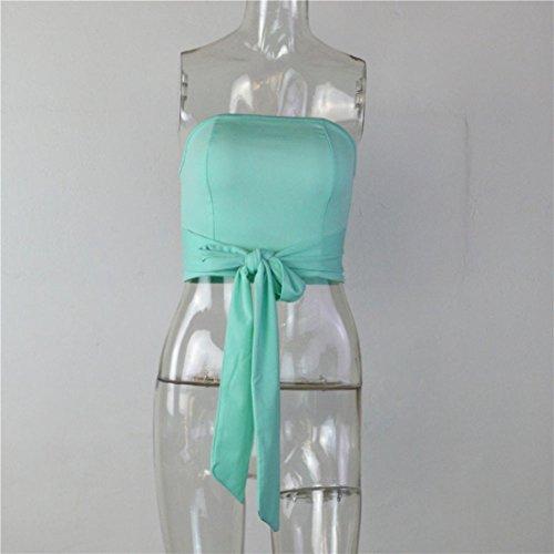 WOCACHI Damen Sommer Ärmellos Tops Mode Frauen Sommer Verband Bluse Reizvolles weg von der Schulter Bowknot Dekoration Slim Fit T-Shirt Tops Grün
