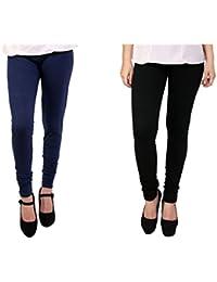 Anekaant Women's Cotton Lycra Combo Legging (Pack of Two) - Dark Blue & Black