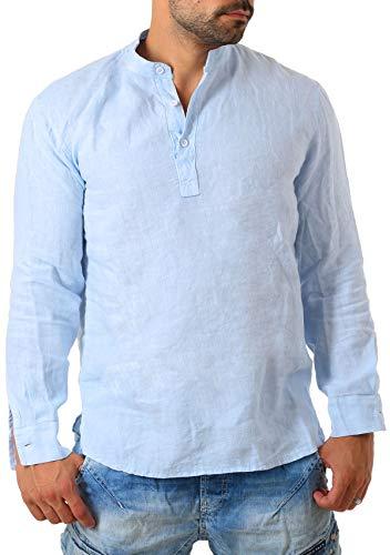 938f547236e70 Young & Rich Herren Leinen Langarm Shirt mit Knopfleiste Henley Tunika Hemd  Regular fit 100% Leinen T3168, Grösse:L, Farbe:Hellblau