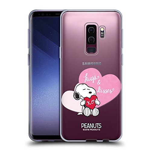 Head case designs ufficiale peanuts snoopy baci e abbracci sigillato con un bacio cover morbida in gel per samsung galaxy s9+ / s9 plus