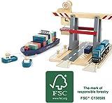 Small Foot 11378 Coontainerterminal aus Holz, mit beweglicher Containerbrücke, Schiff und...