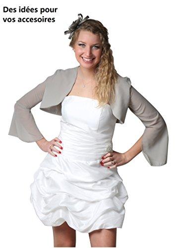 ROBLORA Robe De Cérémonie Soirée Cocktail Mariage Robe Demoiselle D'honneur bustier courte Dress 12 Ivoire