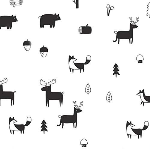niumanery Nordic Style Forest Animal Wall Decals, Woodland Tree Nursery Vinyl Art Wall Stickers Children Room Modern Wall Black