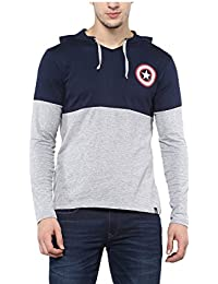 Urbano Fashion Men's Navy Blue & Grey Superhero (Captain America) Hooded Neck Full Sleeve T-Shirt