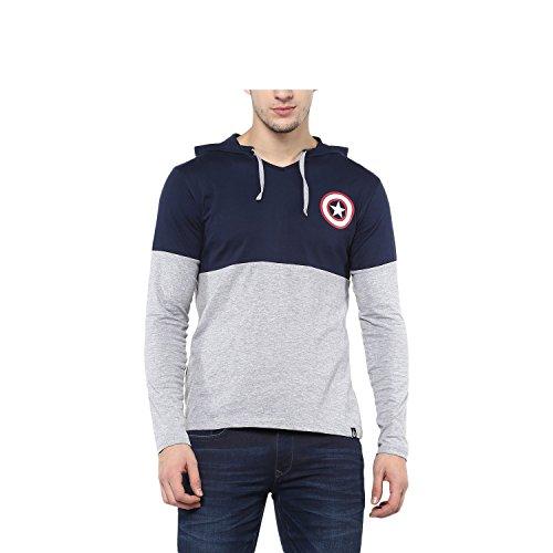Urbano Fashion Men's Striped Slim Fit T-Shirt (Cap-tee-navgre-m-FBA)