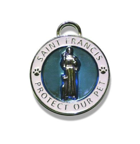 Luxepets Pet Halsband Charme, Heiligen Franz von Assisi, klein, blau -