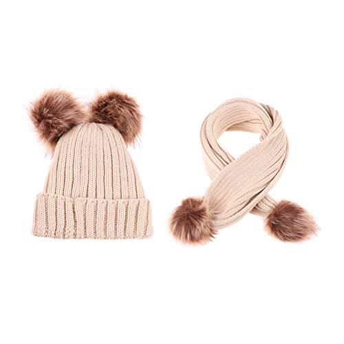 AZUO Baby Cap Plus Velvet Vertical Bar Suit Young Child Neuborn Winter Girl Boy Pom Pom Knit Hat (Black),beige,M -