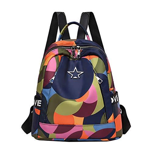 Lomsarsh Neue Frauen Colorblock LIEBE Oxford Mode Tuch Casual Rucksack Wild Travel Student Bag Vielseitige Rucksack - Colorblock Golf
