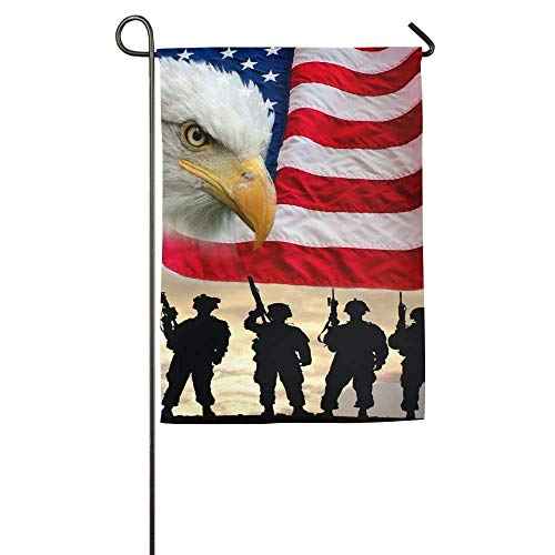 beautiful& USA Soldiers Birds Flag Beak Silhouette Bald Eagle Garden Flag Indoor & Outdoor Decorative Flags for Parade Sports Game Family Party Wall Banner 12.5x18 inches - Bald Eagle Artwork