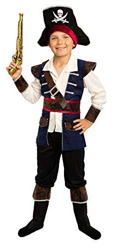 Magicoo Kapitän Piratenkostüm Kinder Jungen Gr. 92 bis 140- Faschingskostüm Pirat Kostüm Kind (122/128)