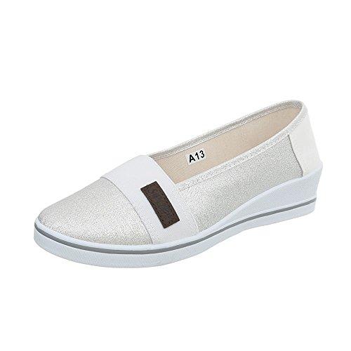 Ital-Design Slipper Damen-Schuhe Keilabsatz/Wedge Keilabsatz Halbschuhe Silber, Gr 38, A13-