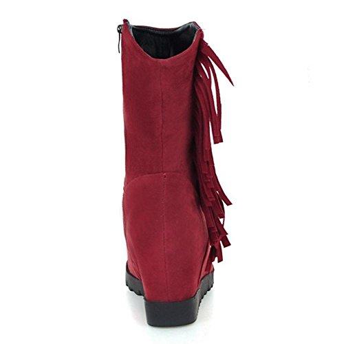 RAZAMAZA Femmes Wedge Bottes Fermeture Eclair red
