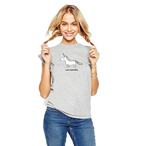 JYSPORT Einhorn Tee-Shirt Unicorn Slogan Kurzarm Gedruckt Sommer Tops Fit Kids & Ladies Unisex Pyjama Top (unicorn, S) (Sleeve Womens Uniform Short)