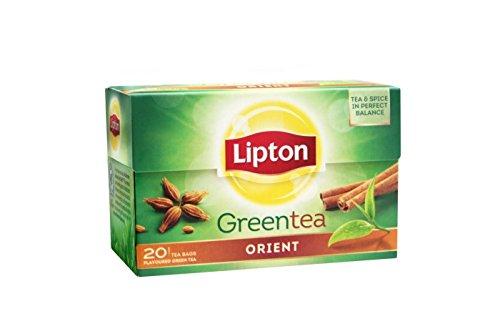 LIPTON - GREEN TEA ORIENT (thé vert et épices) - 20 sachets individuels x 6 paquets = 120 sachets