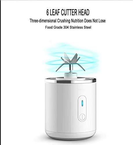 Zzj 500ml Usb Saft Mixer 6 Klingen, Smoothie Maker, Reisesaft Tasse mit 2 Power Batterie, nur 10S für Eis, Saft, Lebensmittel, Obst, Milchshake, Babynahrung (Eis-e-saft)
