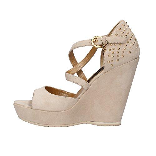CESARE PACIOTTI 4 US sandali zeppe donna beige camoscio borchie AH646 (36 EU)
