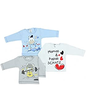 TupTam Unisex Baby Langarmshirt mit Spruch Aufdruck 3er Set
