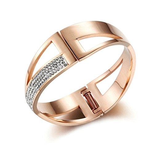 Bishilling Schmuck Damen Armband Edelstahl Hohl X Zirkonia Damenarmband Armbänder Rosegold (Billig Cleopatra Kostüme)