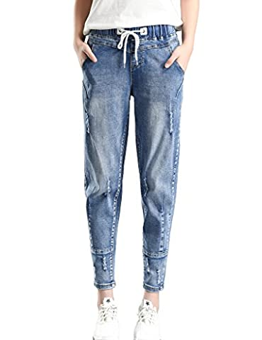 PHOENISING Women's Stylish Ripped Hole Fashion Cropped Jeans Drawstring Relaxed