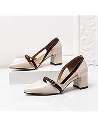 Yukun zapatos de tacón alto Acentuados Solos Zapatos Femeninos Otoño  Salvaje con Talón Tacones Gruesos Huecos aeb2f7f41b3c