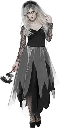 Smiffy's 43729S - Friedhof Braut Kostüm mit Dress und Rose Veil (Friedhof Halloween Ideen)