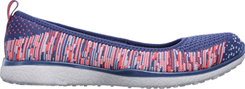 Skechers Microburst Perfect Note Womens Slip On Shoes Blue/Pink