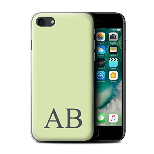 Personalisiert Pastell Monogramm Hülle für Apple iPhone 7 / Korallen Design / Initiale/Name/Text Schutzhülle/Case/Etui Grünes