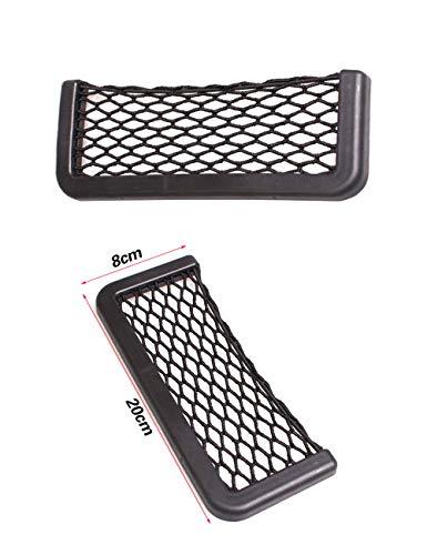 axuanyasi Car Trunk Storage Net, 2 Pack (20 cm/7.87in X 8 cm/3.14in) Black Magic selbstklebend Ablagenetz Elastic String Netz Mesh-Tasche für Handy Geldbörse Schlüssel Kleine Dinge