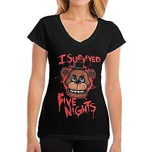 Damen Five-Nights-at-Freddy Logo Baumwolle T Shirt Bekleidung V-Ausschnitt Für Frauen Kurzärmlig Black