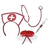 erdbeerclown - Krankenschwester Kostüm Strumpfband Spritze Stethoskop Haube Set, Weiß