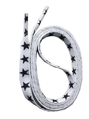 SNORS bedruckte Schnürsenkel STERNE weiss 140cm, 10mm, Schuhbänder mit Motiv, reißfest, waschbar, Flachsenkel Made in Germany