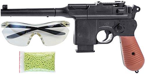 Nick and Ben Softair-Pistole Spielzeug-Waffe aus ABS max. 0,5 Joule im Set mit Schutzbrille und 1000 Kugeln 6 mm BB Airsoft Munition (Pistole Mauser)