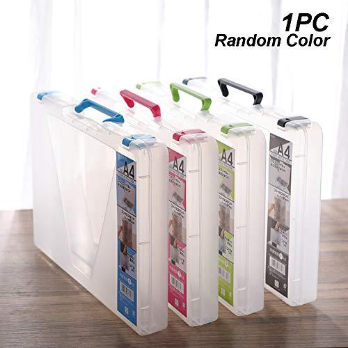 Cartellina portadocumenti formato A4 con manico, grande capacità, in plastica, formato A4, protezione per documenti, contenitore per riviste 32.5 * 23.5 * 4 cm random color