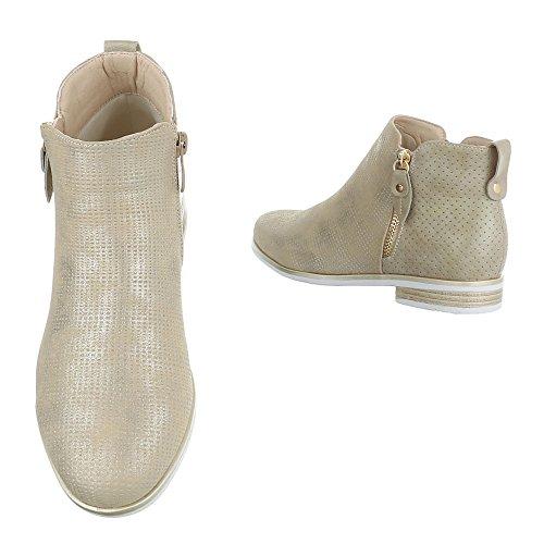 49f3243d530c ... Damen Schuhe Stiefeletten Stiefel Chelsea Boots Used Optik Schwarz Gold