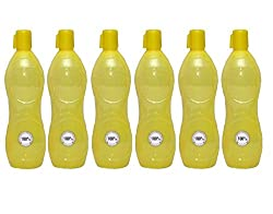 Harshpet Yellow 1 LTR Water Bottle Fridge Bottle Set of 6