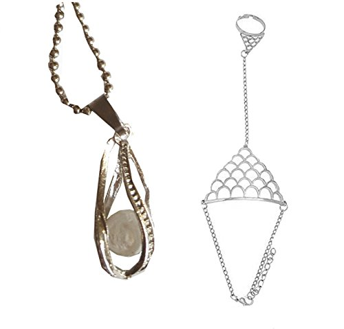 Sehen Perlenanhänger + Fishscal Panja Ring Armband Silber ()