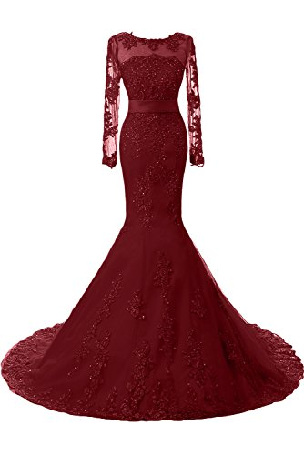 Toscana sposa moda sposa abiti da sera della sirena superiore di qualità lungo con Lace Festival del partito della sfera di promenade dresses Weinrot-1
