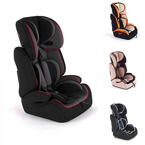 Baby Vivo Kinderautositz Autokindersitz Autositz Kindersitz TOM von 9-36 kg für Gruppe 1+2+3 mitwachsend 1-12 Jahre in grau/schwarz Autositz Baby-kopfstütze