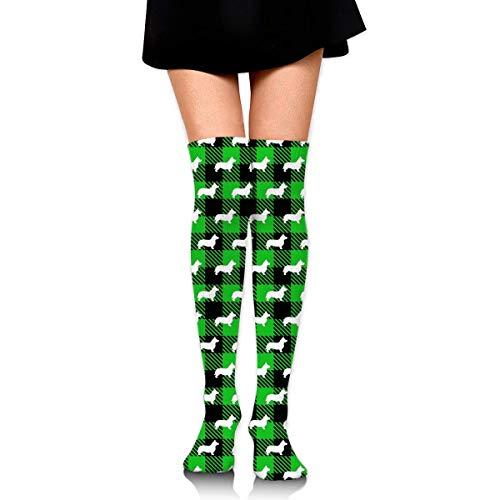 ouyjian Knee High Socken Corgi Buffalo Plaid Green Long Socken Boot Stocking Compression Socken for Women -