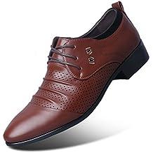 Zapatos de Hombre de Negocios Perforado Transpirable cómodo Micro Fibra de Encaje Toe Suela de Goma