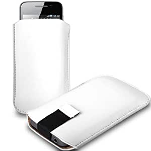 CNL WHITE LEATHER PULL-UP POUCH COVER CASE SLEEVE FOR THE SONY ERICSSON XPERIA ARC S MOBILE PHONE